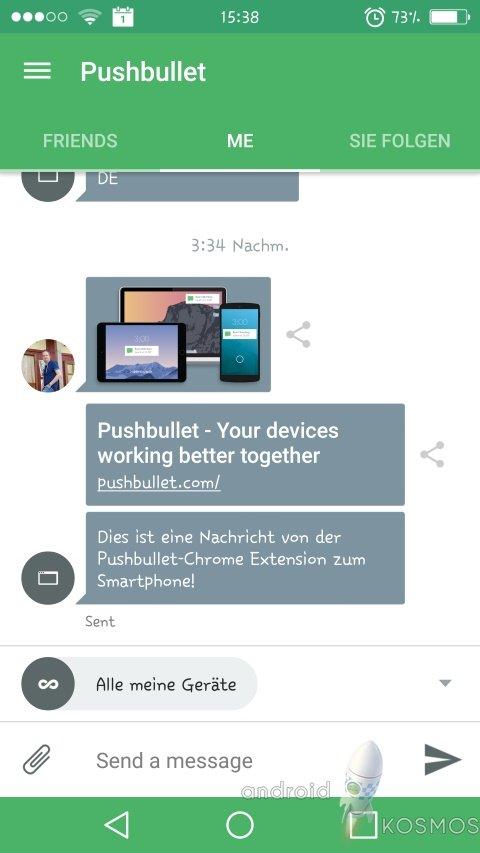 Pushbullet Daten- und Nachrichtenaustausch für Android, iPhone, Windows, MAC, Chrome und Firefox 3