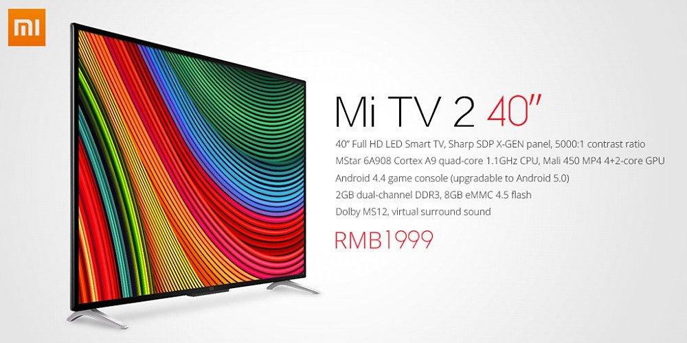 Xiaomi Mi TV 2: neuer 40-Zoll FullHD TV für 295 Euro vorgestellt