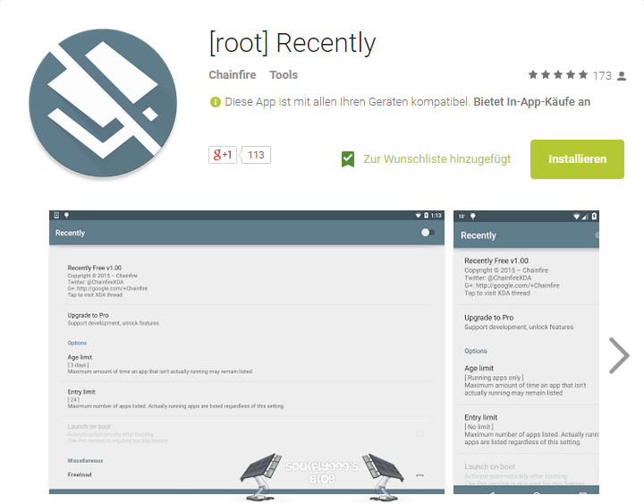 Appvorstellung: Chainfire's Android App [root] Recently - modifiziere die Ansicht letzte benutzte Apps 2
