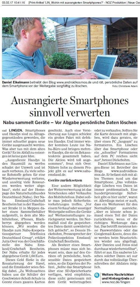 AndroidKosmos.de Zeitungsartikel NOZ.de