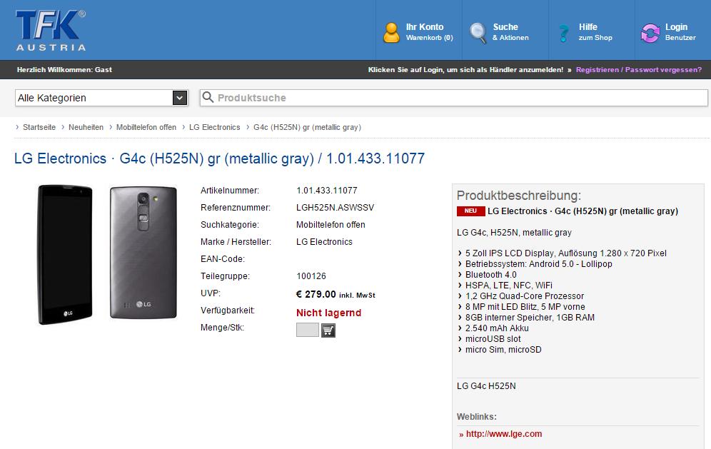 LG G4c Händler