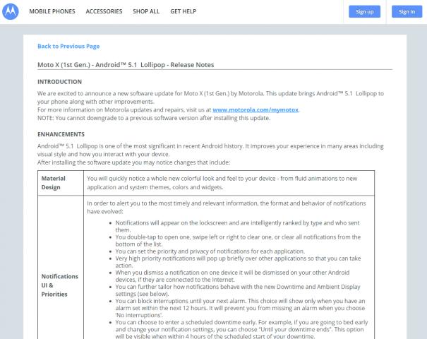 Moto X 2013 und 2014: Android 5.1 Lollipop - Release Notes veröffentlicht, Rollout geht bald los 2