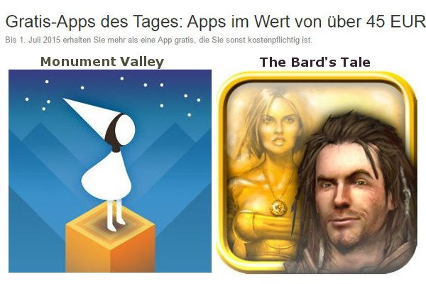AndroidKosmos | Amazon: 45 Apps heute kostenlos - Spiele wie Monument Valley, The Bard's Tale 6