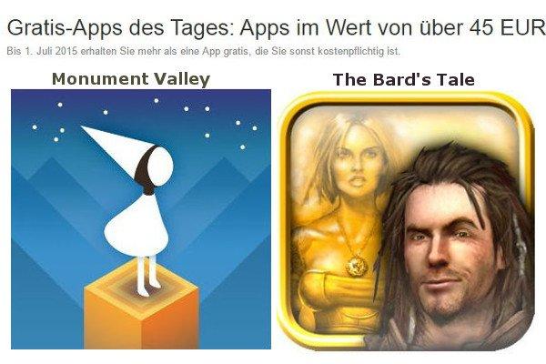 Amazon: 45 Apps heute kostenlos - Spiele wie Monument Valley, The Bard's Tale 6