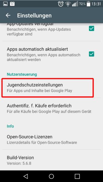 Anleitung: Im Google Play Store Jugendschutzeinstellungen vornehmen 7