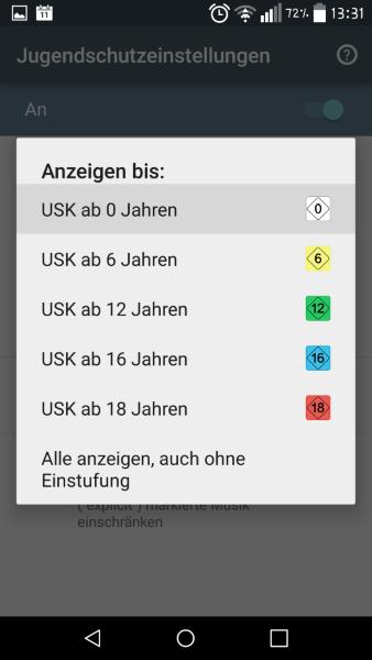 Anleitung: Im Google Play Store Jugendschutzeinstellungen vornehmen 3