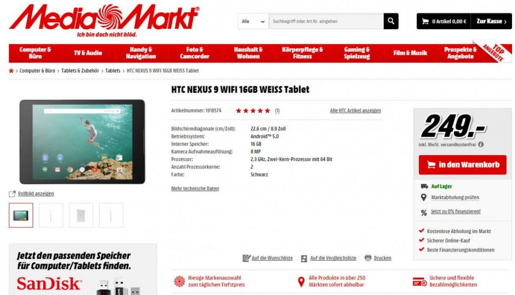 Nexus 9 Media Markt