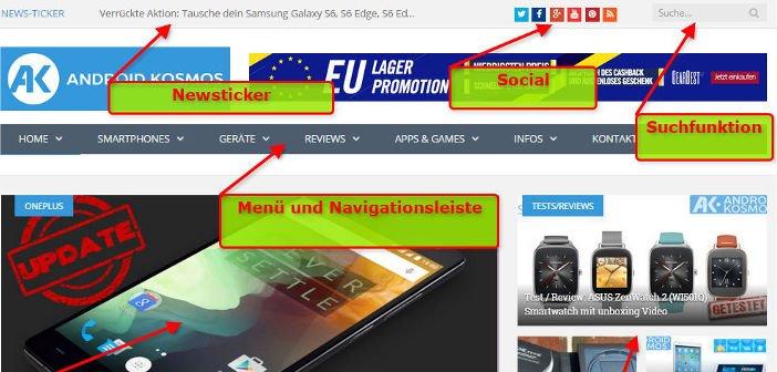 AndroidKosmos.de: Geänderte Hauptseite und Menüführung 4