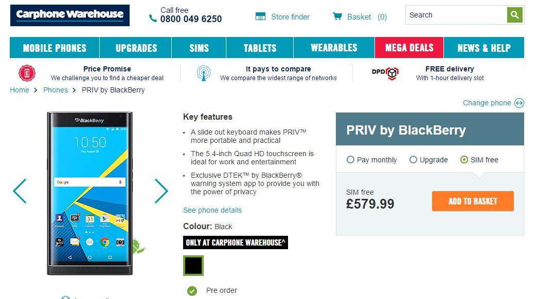 Blackberry Priv Preis