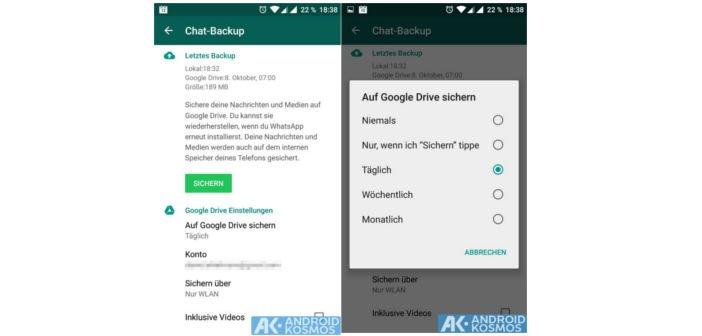 WhatsApp: Android App erhält endlich die Backup-Funktion über Google Drive 4