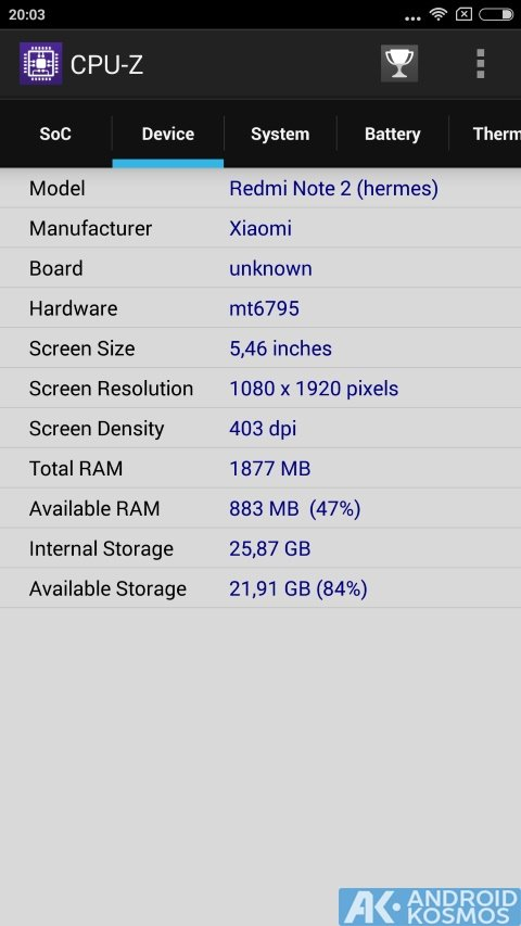 androidkosmos redminote2 cpuid.cpu z 2015 10 17 20 03 03
