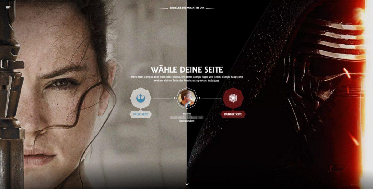 """Star Wars """"Awaken force within"""", wähle mit Google deine Seite der Macht 1"""