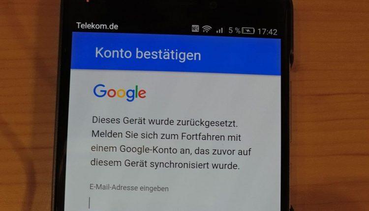 Android 5.1 / 6.0 / 7.0 / 8.0 Smartphone ist nach Werkseinstellung von Google gesperrt 2