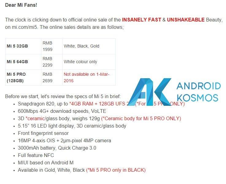 Xiaomi Mi5 Lieferzeit