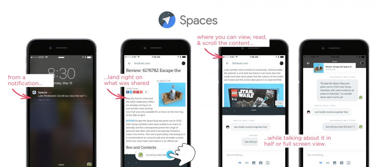 Über den geteilten Inhalt kann man sich direkt mit den anderen Leuten in einem Space unterhalten.
