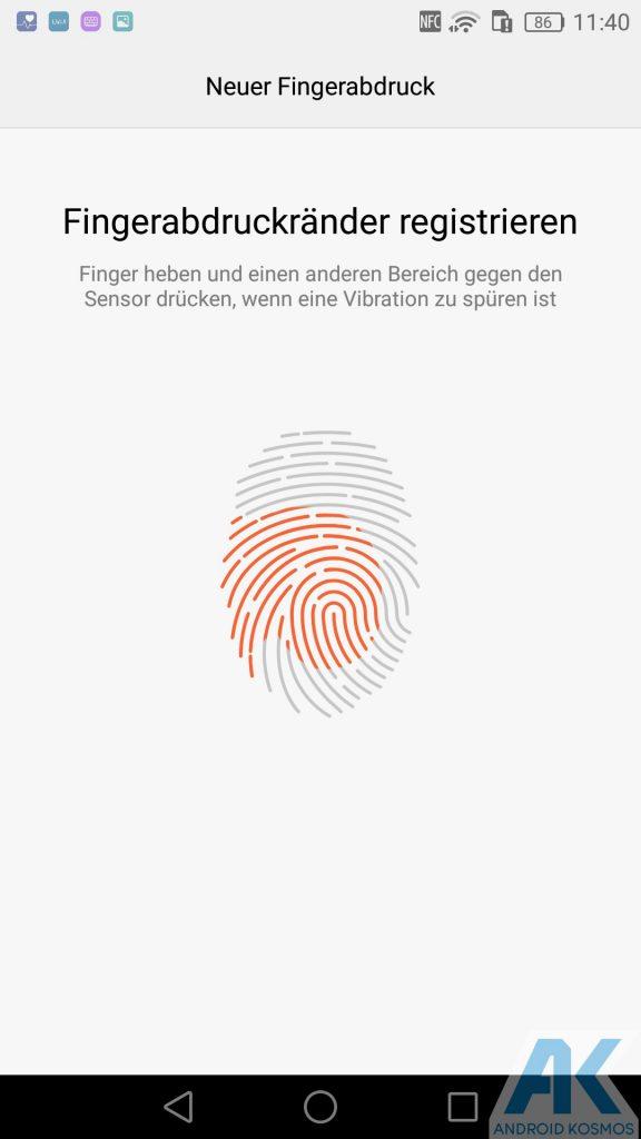 Fingerprint-Sensor Einrichtung