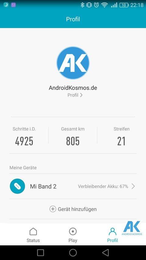 AndroidKosmos | Testbericht / Review / Anleitung / Video: Xiaomi Mi Band 2 Fitnesstracker mit Mi Fit App 70