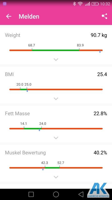 Test / Review: Koogeek Smart Waage mit Gewicht, BMI, Muskel, Wasser, Fettgehalt 46