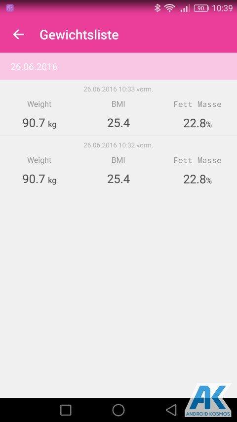 Test / Review: Koogeek Smart Waage mit Gewicht, BMI, Muskel, Wasser, Fettgehalt 45