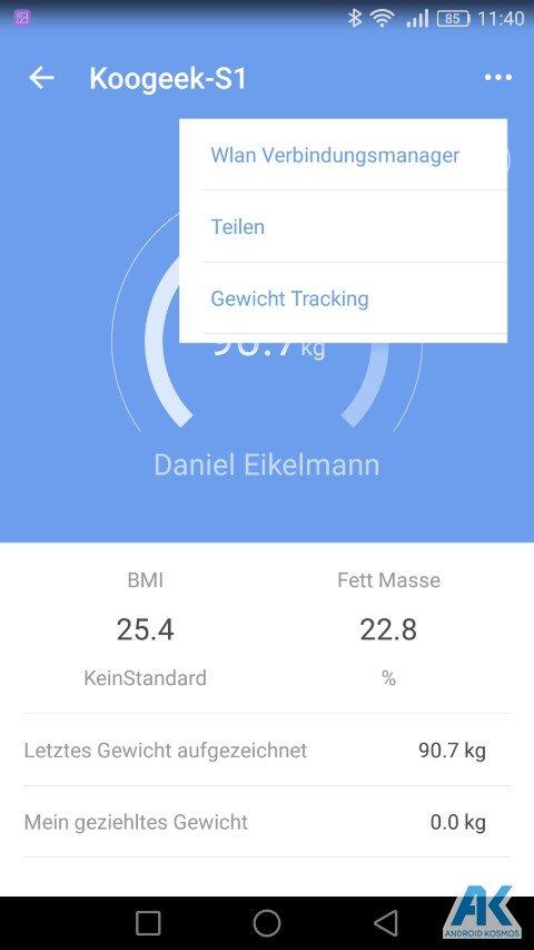 Test / Review: Koogeek Smart Waage mit Gewicht, BMI, Muskel, Wasser, Fettgehalt 41