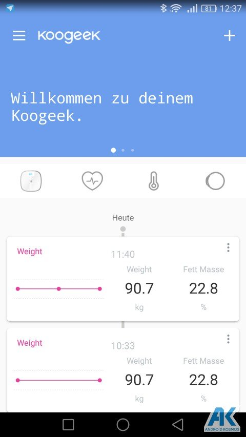 Test / Review: Koogeek Smart Waage mit Gewicht, BMI, Muskel, Wasser, Fettgehalt 35