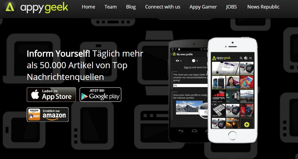 nachrichten app appygeeks ab sofort mit androidkosmos. Black Bedroom Furniture Sets. Home Design Ideas