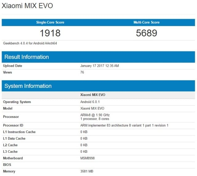 xiaomi mix evo geekbench