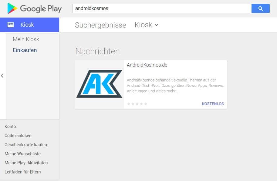 In eigener Sache: AndroidKosmos ab sofort im Google Play Kiosk 2