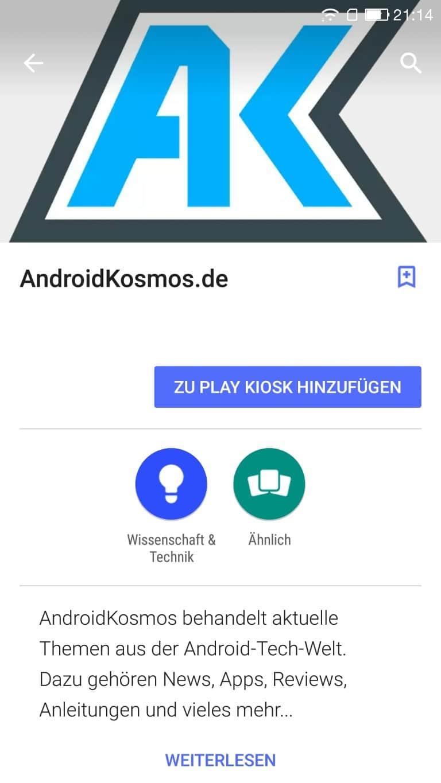 In eigener Sache: AndroidKosmos ab sofort im Google Play Kiosk 5