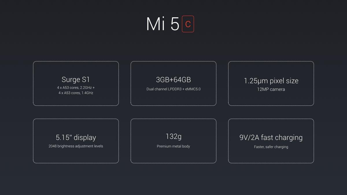 Xiaomi Mi 5c: erstes Smartphone mit eigenem Pinecone Surge S1 Prozessor vorgestellt 2