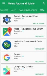 Eine Liste/Übersicht der Google Beta Android Apps im Play Store 1