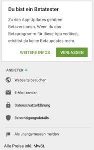 Eine Liste/Übersicht der Google Beta Android Apps im Play Store 2