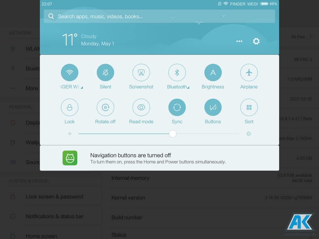 Xiaomi Mi Pad 3 Test: Das dritte Android Tablet der Serie 86