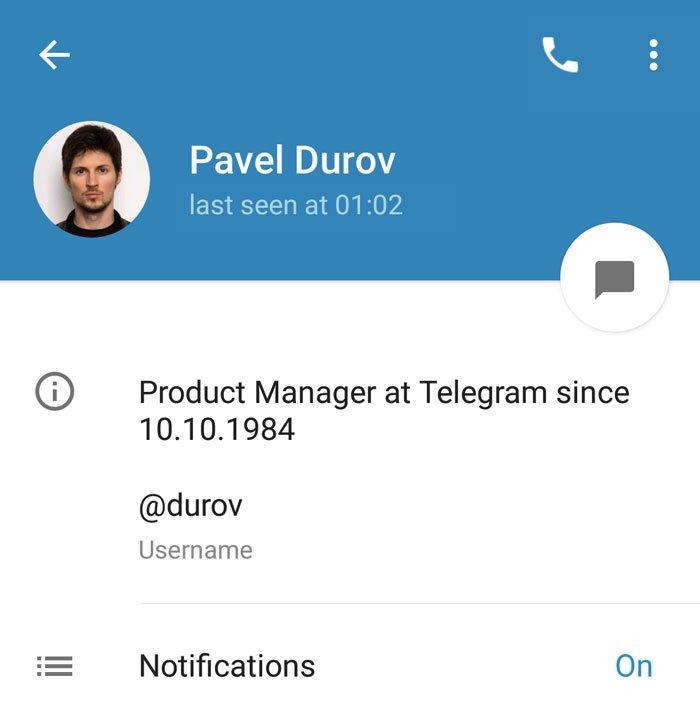 Telegram Biografie anpassen