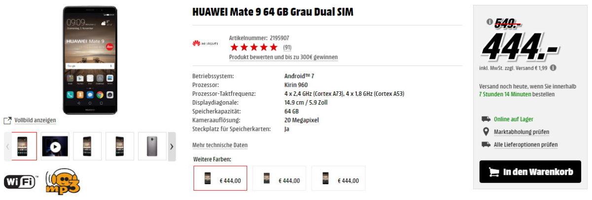 Huawei mate 9 MediaMarkt