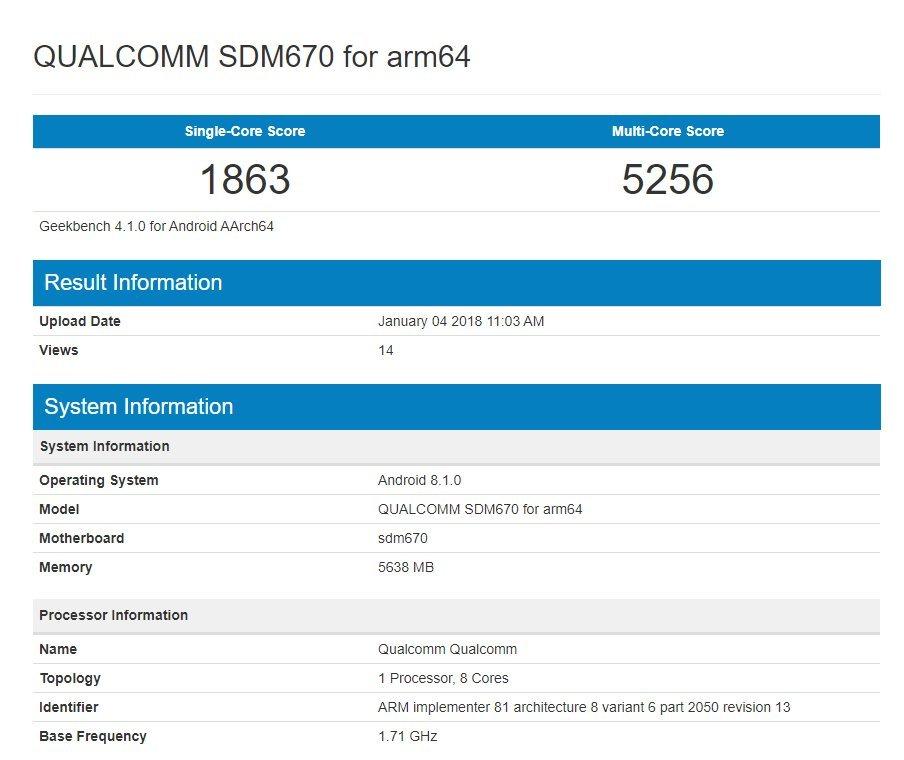 Snapdragon670 Geekbench